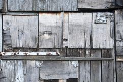 A wall made of various wooden parts Stock Photo