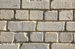 Wall made of white brick closeup background. Stock Image