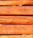 Wall made of wooden beams Royalty Free Stock Image