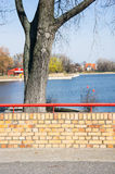Wall by Malta lake. Small wall made of bricks by the Malta lake Royalty Free Stock Photos