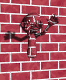 Wall Man. Cartoon figure coming out of a brick wall vector illustration