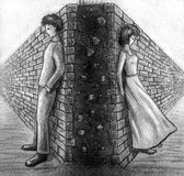 Wall between man and woman - sketch. Ð¡ommunication gap due to misunderstanding, quarrel, hatred or jealousy depicted as a brick wall between two people who vector illustration