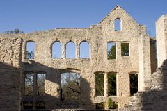 Wall with many windows. Large standing wall of the Ha Ha Tonka ruins in the Missouri Ozarks Royalty Free Stock Photo