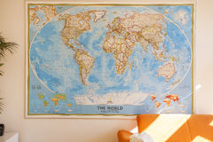 Wall Map in the room Stock Photo