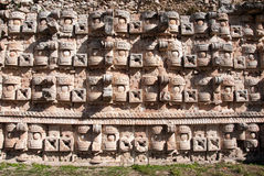 Wall of mask of Chaac Stock Image