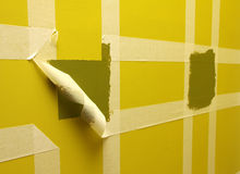 Wall with masking tape. Painting the wall with masking tape Royalty Free Stock Images
