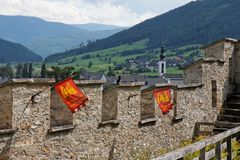 Wall of the medieval Mauterndorf castle in Alps royalty free stock photos