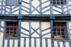 Wall of medieval timber framing house. In Treguier, Brittany, France stock photography