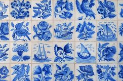 Wall of mediterranean ceramic tiles Stock Images