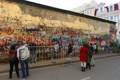 The wall of memory of the famous singer Viktor Tsoi on Old Arbat. The authorities of Moscow are constantly trying to paint over it. MOSCOW, RUSSIA - APRIL 17 royalty free stock photos