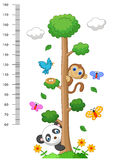 Wall meter with three and wild animals cartoon Royalty Free Stock Photography