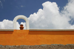 Wall in mexico. A colorful wall in a mexican village Stock Photos