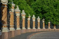 Wall of the Mikhailovsky Garden Stock Photos