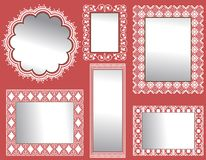 Wall of Mirrors. Collection of Mirrors with  full patterns behind  3  mirrors Stock Photography