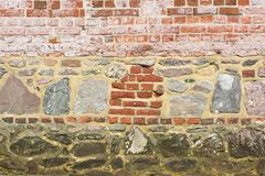 Wall of mixed stone and brick Royalty Free Stock Photography