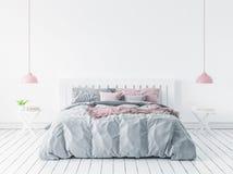 Wall mock-up in modern bedroom, Scandinavian style. 3d render royalty free illustration