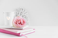 Wall Mockup Floral Styled Stock Photograph Stock Photo