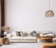 Free Wall Mockup In Bright Living Room Design, White Sofa In Farmhouse Boho Interior Style Stock Image - 210404491