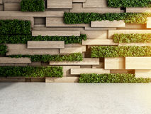 Wall in modern interior. With wooden blocks and vertical garden. 3D illustration Stock Image