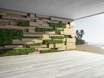 Wall in modern interior. With wooden blocks and vertical garden. 3D illustration Stock Images