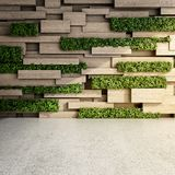 Wall in modern interior. With wooden blocks and vertical garden. 3D illustration Royalty Free Stock Photos