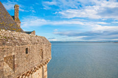 Wall of Mont Saint-Michel, view at Atlantic ocean Stock Images