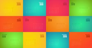 Wall Monthly 2019 Calendar with different color pages. Wall Monthly 2019 Calendar. Vector horizontal template with different color pages royalty free illustration