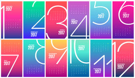 Wall Monthly Calendar 2017. Vector Template. Wall Color Monthly Wall Calendar for the year 2017. Vector eps10 template stock illustration