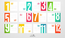 Wall Monthly Calendar 2017. Vector Template. Wall or table office Monthly Calendar for the year 2017. Vector eps10 template with horizontal pages Royalty Free Stock Images