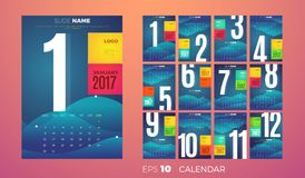 Wall Monthly Calendar 2017. Vector Template. Wall Monthly Calendar for the year 2017. Vector eps10 template Stock Image