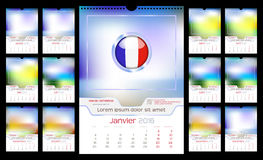 Wall Monthly Calendar. For Year 2016. French language. Different Color for Season. Week starts Monday. Holidays are not marked. Vector Template with Space for Royalty Free Stock Image