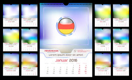 Wall Monthly Calendar. For Year 2016. German language. Different Color for Season. Week starts Monday. Holidays are not marked. Vector Template with Space for Stock Photos