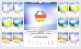 Wall Monthly Calendar. For Year 2016. German language. Different Color for Season. Week starts Monday. Holidays are not marked. Vector Template with Space for Stock Images