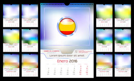 Wall Monthly Calendar. For Year 2016 in Spanish. Different Color for Season. Week starts Monday. Holidays are not marked. Vector Template with Space for Photo stock illustration