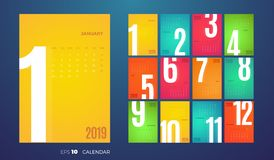 Wall Monthly Calendar 2019 year. Vector colorful template. Wall Monthly 2019 Calendar. Vector template with different color pages vector illustration