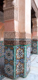 Wall with Moroccoan tiles and ornate carvings Stock Photography