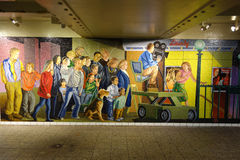 Wall mosaic at the Times Square 42 St Subway Station in NYC Stock Image
