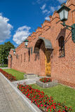 Wall of Moscow Kremlin in Alexander garden. Wall of Kremlin in Alexander garden in Moscow, Russia Royalty Free Stock Image