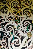 Wall of motifs by the Orang Ulu. Motifs like this belongs to the Orang Ulu tribes. It is normally made for the longhouse chief Stock Photo