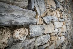 Wall of mountain stones in Prè-Saint-Didier Stock Photography