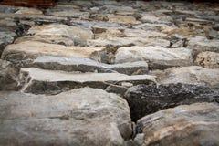 Wall of mountain stones in Prè-Saint-Didier Stock Photo