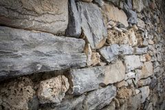 Wall of mountain stones in Prè-Saint-Didier. Wall of mountain stones used to delimit the passage in the center of Prè-Saint_Didier stock image