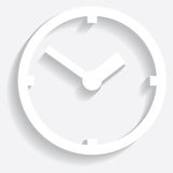Wall mounted digital clock. Stock Photo
