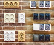 Wall mounted electrical outlets for indoors Stock Image