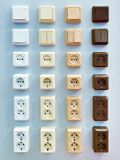 Wall mounted electrical outlets for indoors Royalty Free Stock Images