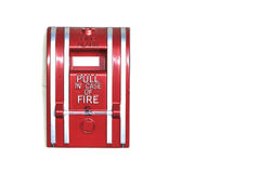 Wall Mounted Fire Alarm isolated on White Background, Closeup Royalty Free Stock Image