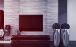 Wall mounted TV in a modern living room Stock Images