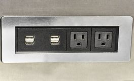 Wall Mounted USB Plugs with Electrical Outlets Stock Photo