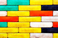 Wall of multicolored plastic blocks Stock Images