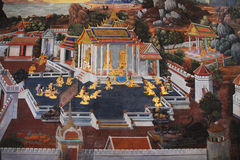 The wall mural. In Wat phra keaw Thailand Stock Photos